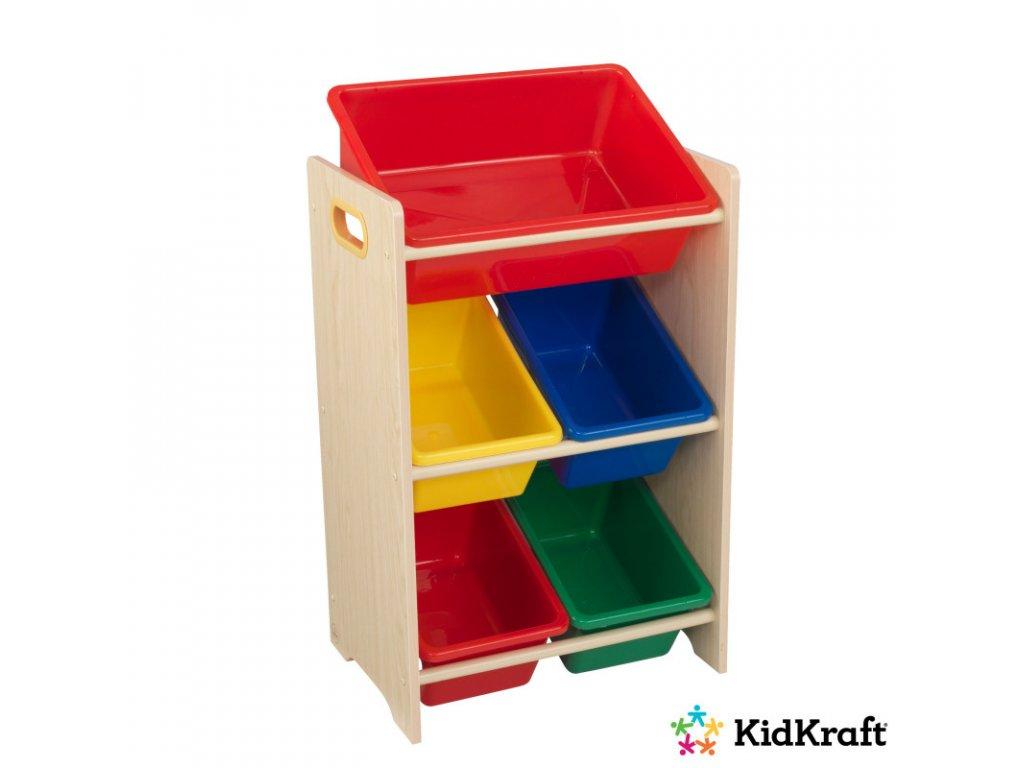 KidKraft regál s úložnými boxy 5 NATURAL