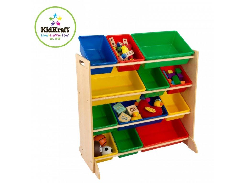 Polička s úložnými boxy PRIMARY - dětský nábytek