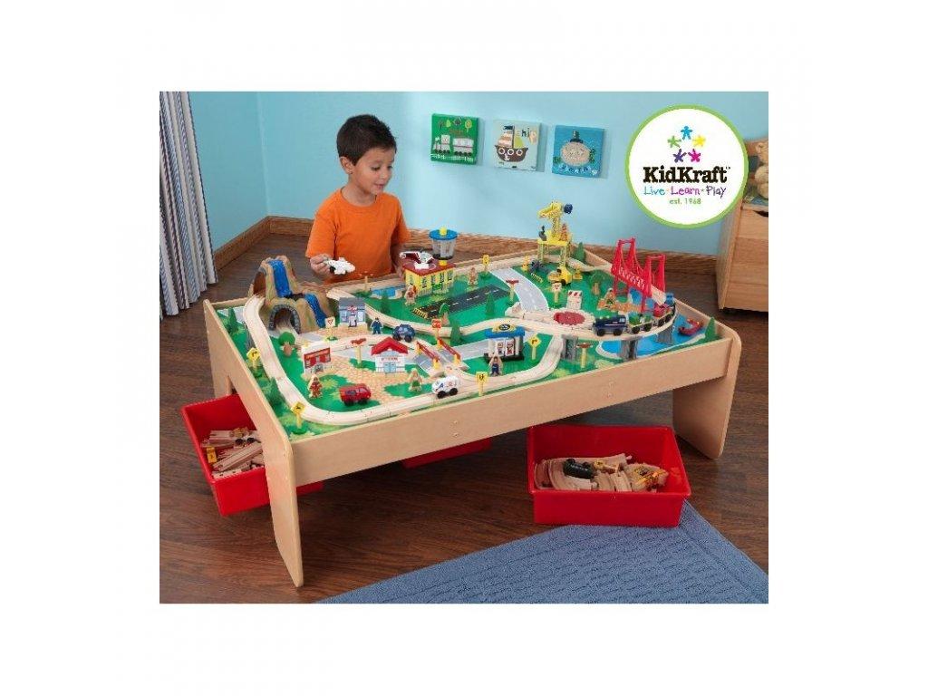"""KidKraft Set se stolem na vláčky """"Horský vodopád"""" - hrací sety"""