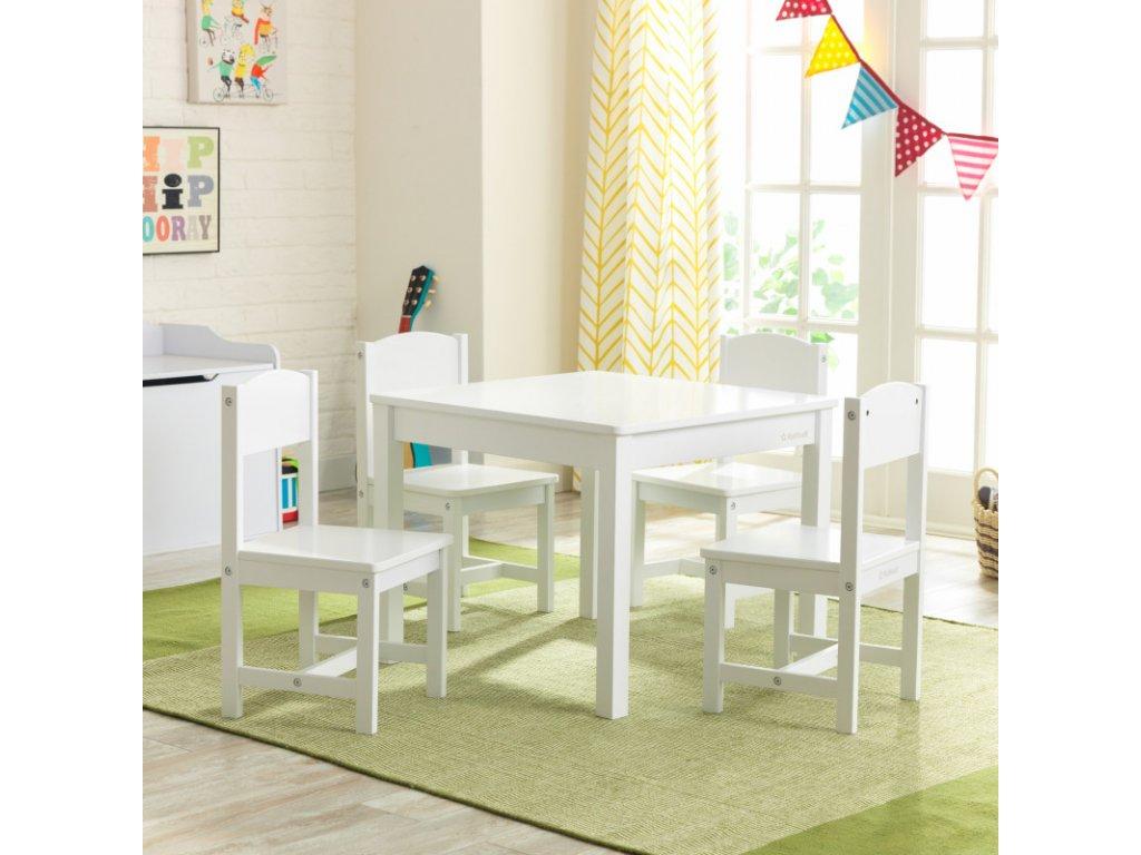KidKraft Stoleček + 4 židličky FARM WHITE