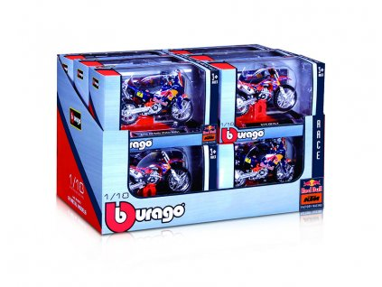 Bburago 1:18 Red Bull KTM Motorcycle (2 x 12 DISPLAY) 24ks ASST