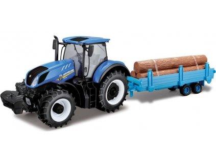 Bburago 1:32 Farm Traktor New Holland s vlečkou na dřevo
