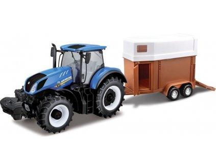 Bburago 1:32 Farm Traktor New Holland s vlečkou pro koně