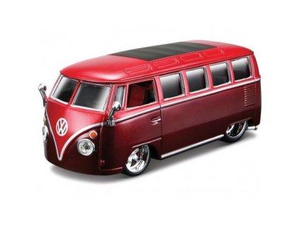 bburago plus volkswagen van samba 1 32 cervena