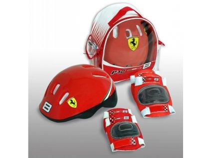 FERRARI Bezpečnostní set helma, kolenní a loketní chrániče