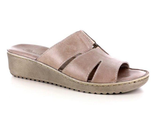 Dámské kožené pantofle JOLIE 462653 TAUPE