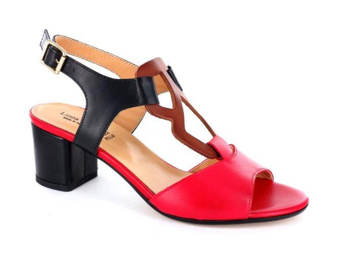 Dámské letní sandály Linea Uno 115 ROSSO/TAN/NERO
