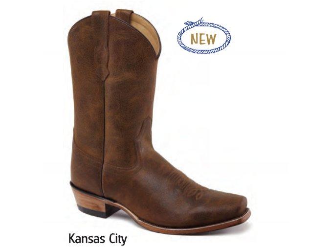 Jama Old West Boots  5554 KANSAS CITY YELLOW BROWN VINTAGE CRACKLE pánská westernová obuv