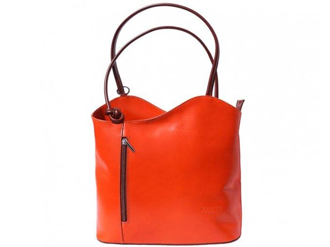 Dámská kožená kabelka Florence 207, barva:Orange/ brown