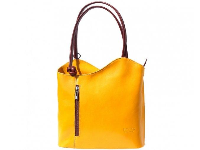 Dámská kožená kabelka Florence 207, barva:Yellow/Brown