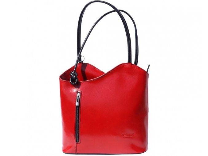 Dámská kožená kabelka Florence 207, barva:Red/Blk