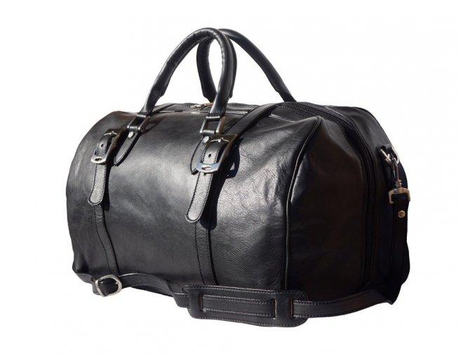 Cestovní kožená taška art. 7503 černá