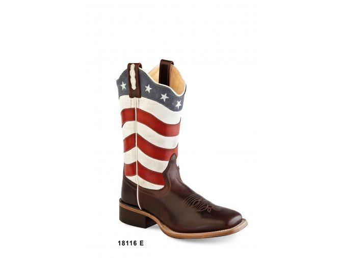 Jama Old West 18116E BROWN/FLAG  dámská westernová obuv