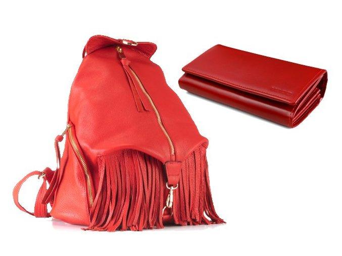 Kožený batoh VOOC EP17 RED+peněženka