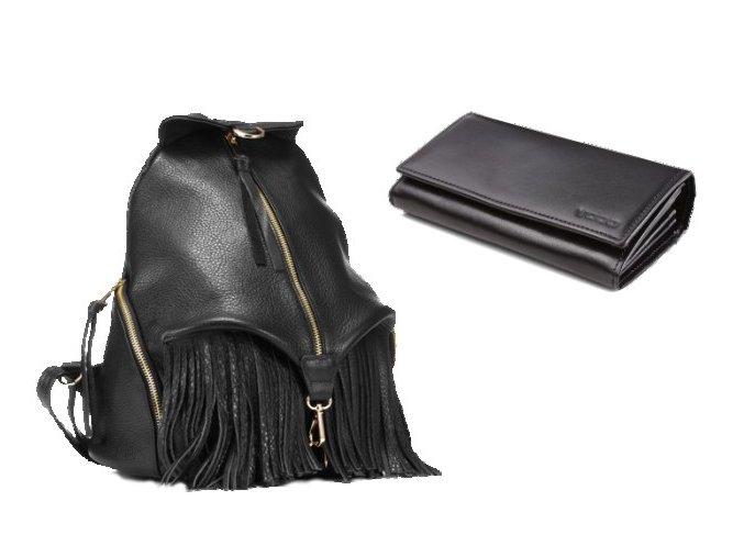 Kožený batoh VOOC EP17 BLACK+peněženka