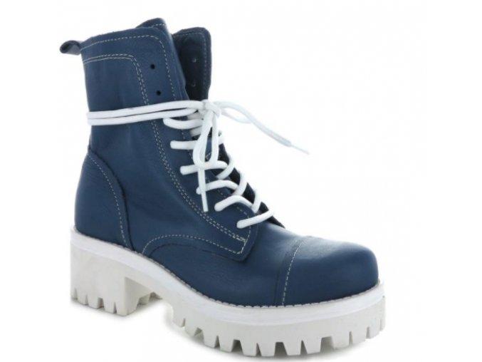 Dámské kožené kotníkové boty ITALIANO OMAN11/bluette