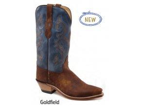 Jama Old West Boots LF1601E GOLDFIELD BROWN VINTAGE DENIM BLUE dámská westernová obuv