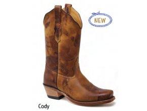 Jama Old West Boots  18139E CODY BROWN ANTIQUA HAND PAINTED dámská westernová obuv