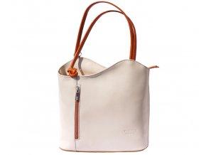 Dámská kožená kabelka Florence 207, barva:Beige/tan