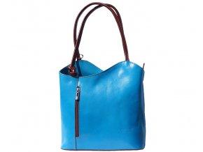 Dámská kožená kabelka Florence 207, barva:Light/Blue/Brown
