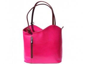 Dámská kožená kabelka Florence 207, barva:Fuchsia/ brown