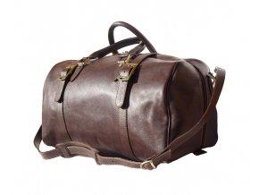 Cestovní kožená taška art. 7503 tm. hnědá