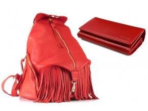 Kožený batoh VOOC EP17 RED+peněženka zdarma