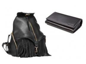 Kožený batoh VOOC EP17 BLACK+peněženka zdarma