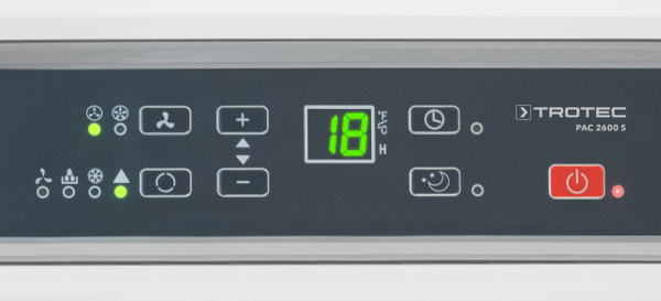 mobilní klimatizace Trotec PAC 4100 E, detail na ovládací panel s LED displejem