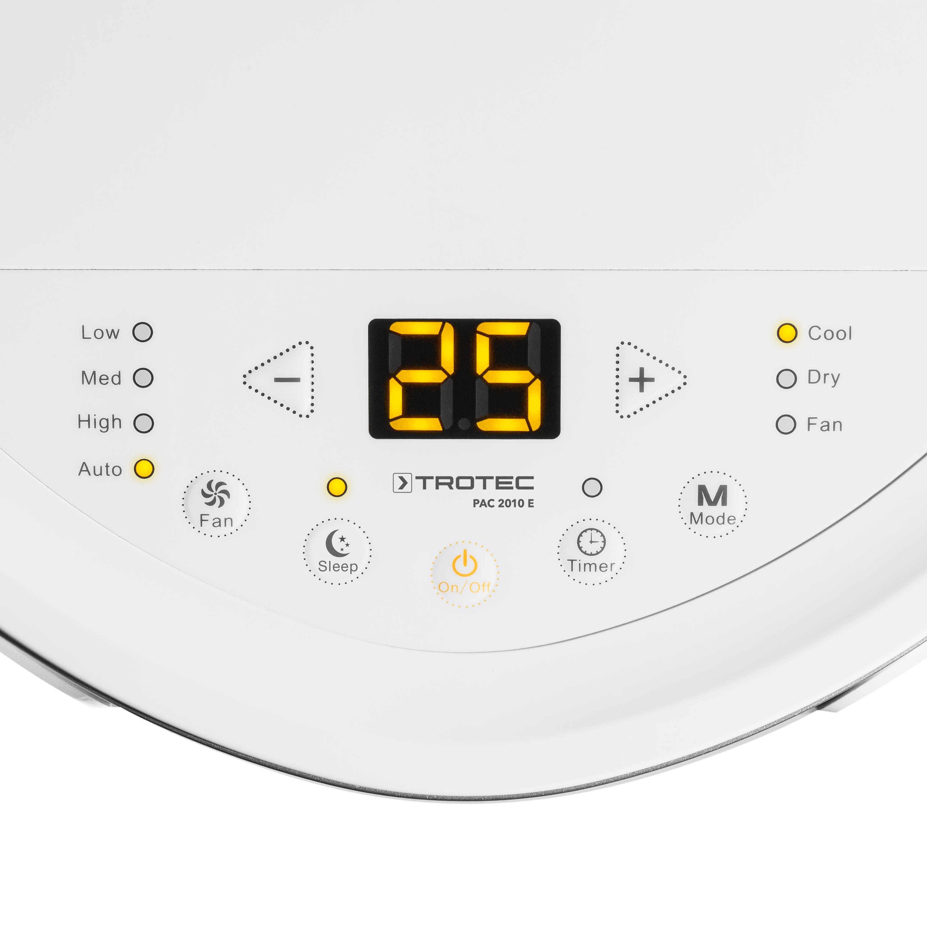 detail na displej mobilní klimatizace Trotec PAC 2610 E