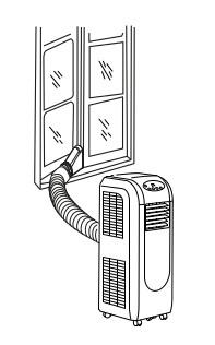 mobilní klimatizace Trotec PAC 2000 E s vývodem teplého vzduchu do okna
