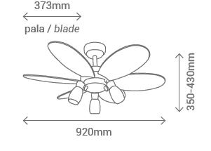 Schéma stropní ventilátor se světlem Sulion 072646 Tones