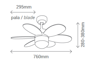 Schéma stropní ventilátor se světlem Sulion 075155 Rainbow
