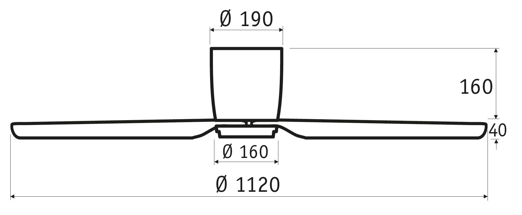 Schéma stropní ventilátor bez světla CasaFan 311282 Eco Plano II v barvě ořechu