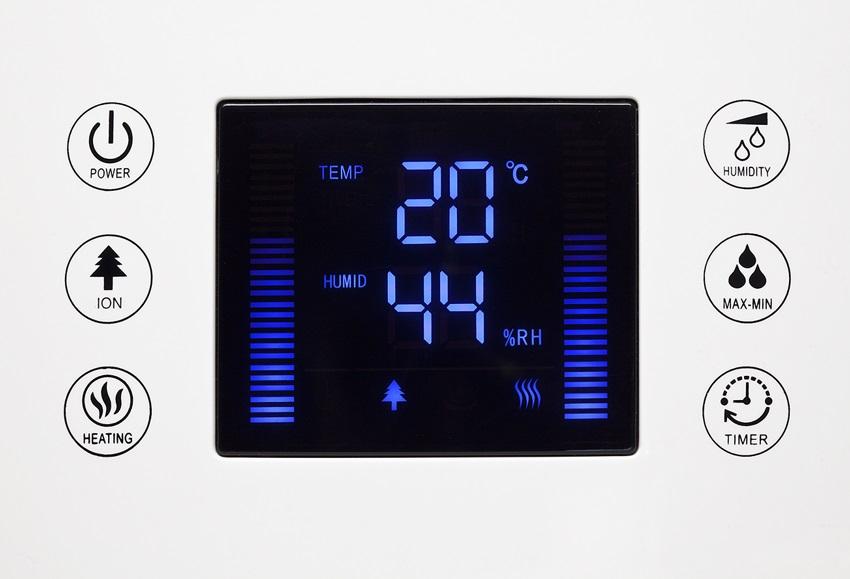 Ultrazvukový zvlhčovač vzduchu s ionizátorem Clean Air Optima CA-606 - ovládací panel
