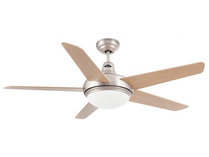 Stropní ventilátor se světlem FARO 33137 OVNI bělený dub/matný nikl