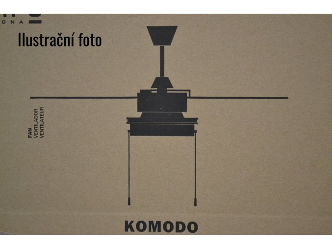 FARO 33723 KOMODO, hnědý/černý, stropní ventilátor se světlem