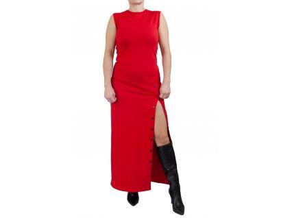 Červené dlouhé šaty s rozparkem