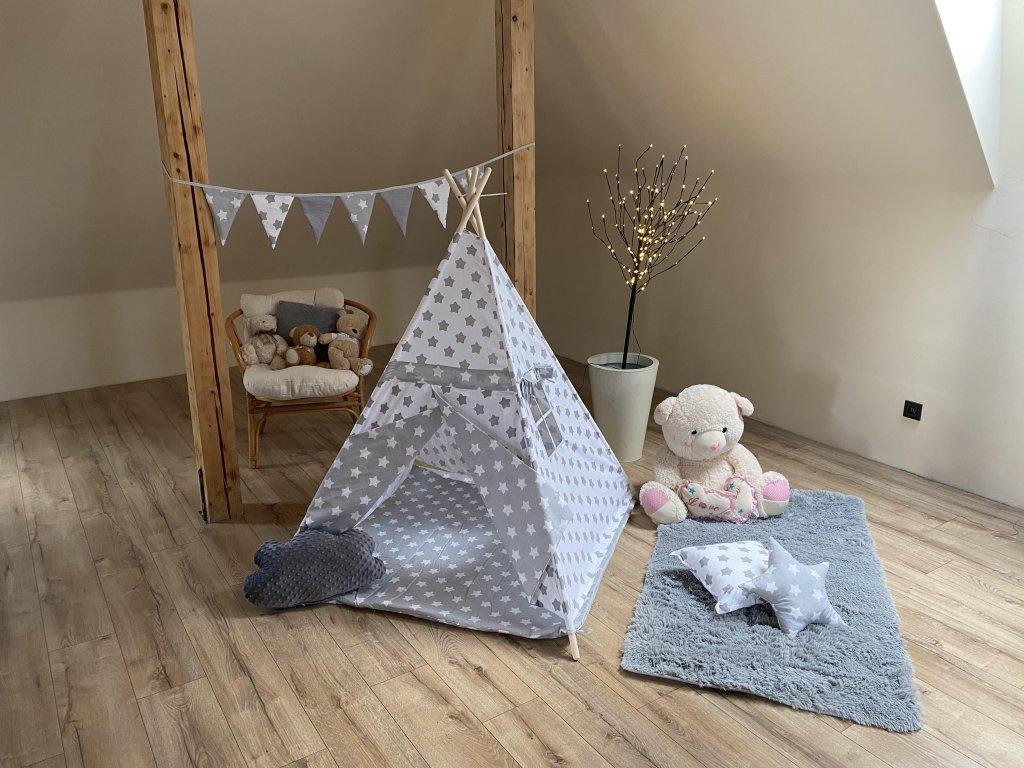 Dětský stan TEEPEE KIDS - šedobílé hvězdičky