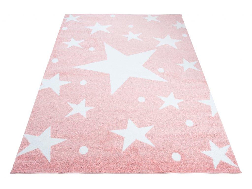 detsky koberec kids ruzovy hvezdicky 1