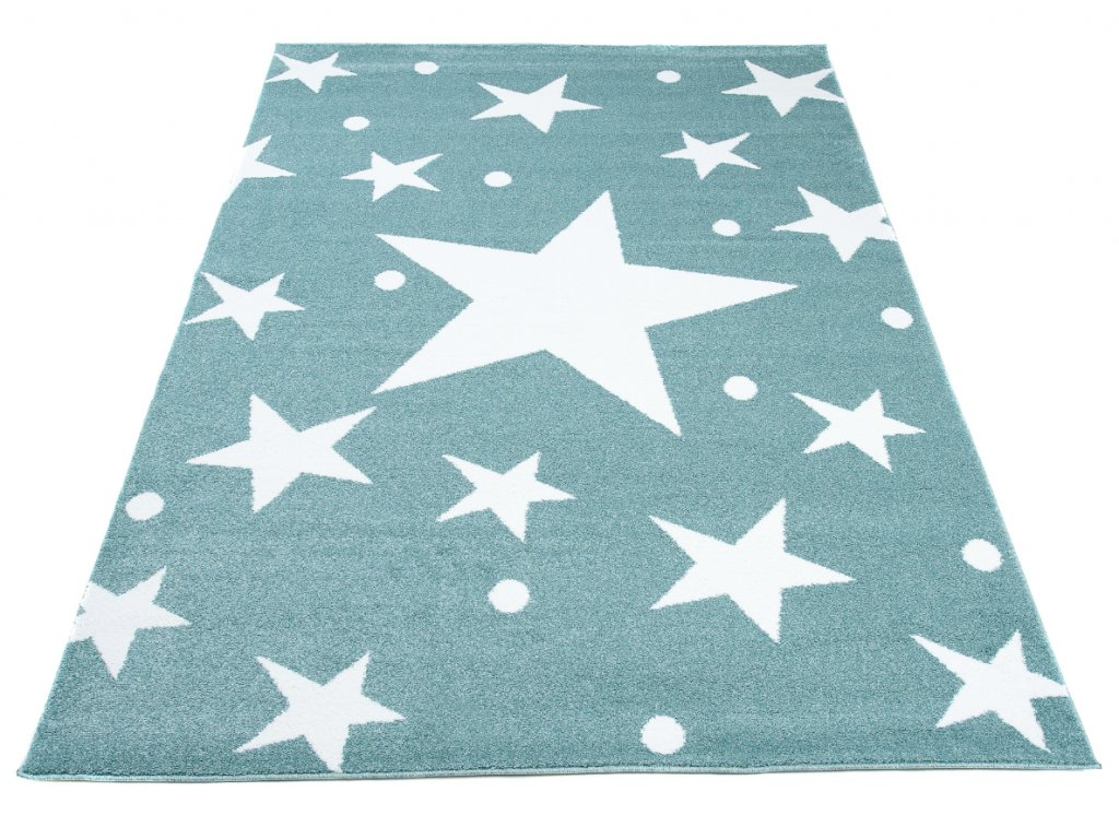 detsky koberec kids modry hvezdicky 1
