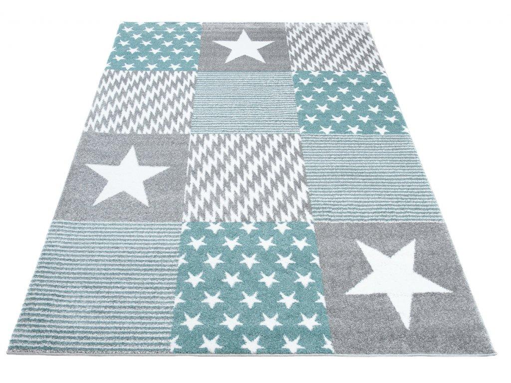 detsky koberec kids modro sedy hvezdy