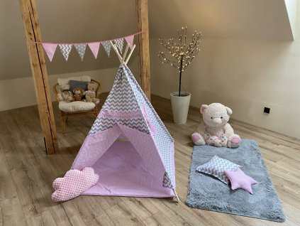 Dětský stan TEEPEE KIDS - růžový s vlnkou