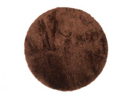 kulaty plysovy koberec best hnedy 1