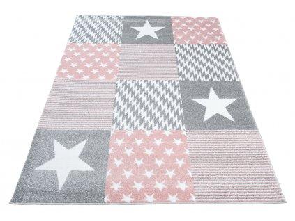detsky koberec kids ruzovo sedy hvezdy 1