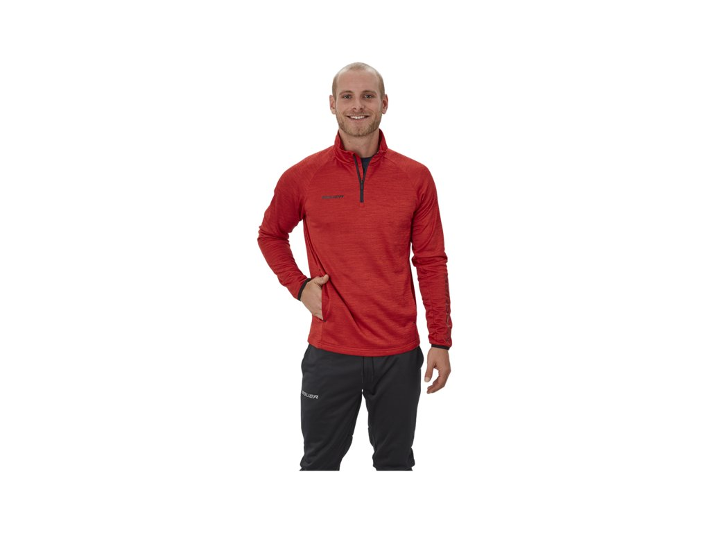 Mikina BAUER VAPOR FLEECE 14 ZIP TOP RED SR