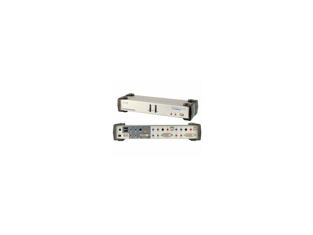 Aten CS-1782A KVM přepínač 2-port DVI KVMP USB, usb hub, audio 7.1, kabely