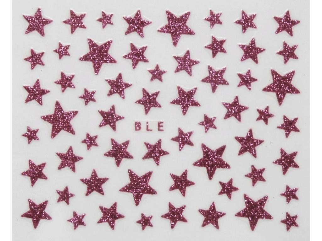 Nálepky na nechty - trblietavé hviezdy bledoružové