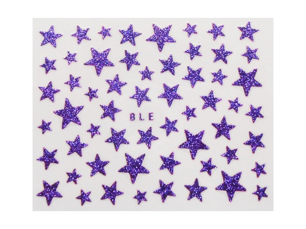 Nálepky na nechty - trblietavé hviezdy fialové