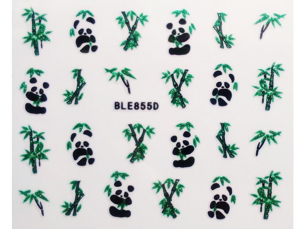 Nálepky na nechty trblietavé - panda